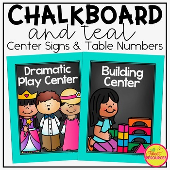Center Signs {Chalkboard and Chevron Classroom Decor Theme}