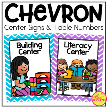 Center Signs and Table Number card in Chevron Primary Colors