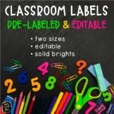 Classroom Labels *Editable* Solid Brights