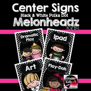 Center Signs {Black and White Polka Dot Melonheadz Kids Edition} EDITABLE