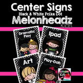 Center Signs {Black and White Polka Dot Melonheadz Kids Ed