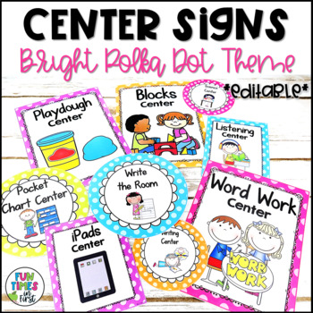 Center Signs {Bright Polka Dot Theme}