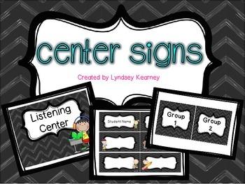 Center Signs - Chalkboard Chevron