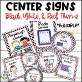Center Signs EDITABLE   Black, White, & Red Decor