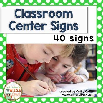 Classroom Center Signs:  Green Polka Dots