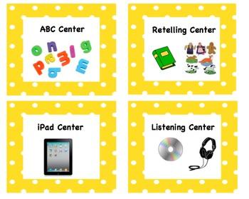 Center Signs - Green and Yellow Polka Dot