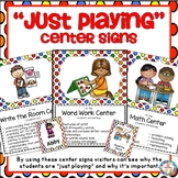 Center Signs  ~ Just Playing ~ With Editable Student Cards