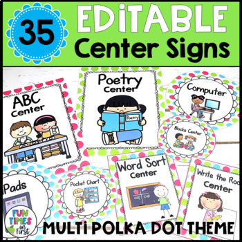 Center Signs {Multi-Polka Dot Theme}