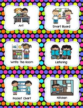 Center Signs (Pocket chart size & half-page) - Polka Dot Theme Classroom Decor