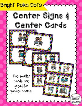 Center Signs (Pocket chart size & half-page) - Polka Dot T