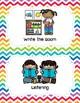 Center Signs (Pocket chart size & half-page) - Rainbow Chevron Theme Classroom