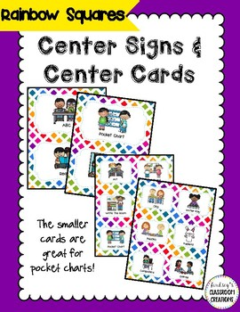 Center Signs (Pocket chart size & half-page) - Rainbow  Th