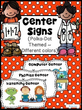 Center Signs {Polka-Dots Themed}