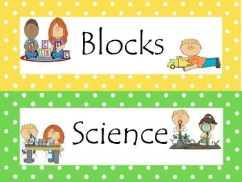 7 Learning Center Signs #1. Preschool, Pre-K, Kindergarten