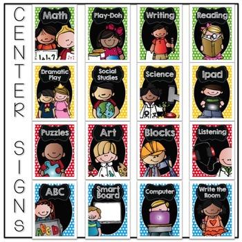 Center Signs {Primary Polka Dot Melonheadz Kids Edition} EDITABLE