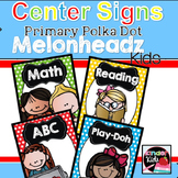 Center Signs {Primary Polka Dot Melonheadz Kids Edition} white EDITABLE