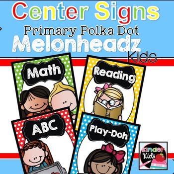 Center Signs {Primary Polka Dot Melonheadz Kids Edition} white EDITABLE