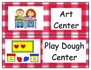 Center Signs- Red Plaid Background
