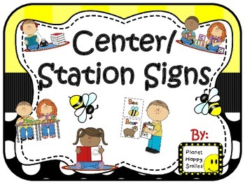 Center Signs ~ Station Signs (Bee Theme)