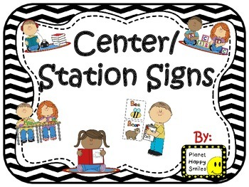 Center Signs ~ Station Signs (Black and White Chevron)