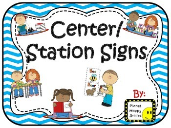 Center Signs ~ Station Signs (Blue Chevron)