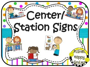 Center Signs ~ Station Signs (Bright Polka Dots & Stripes)