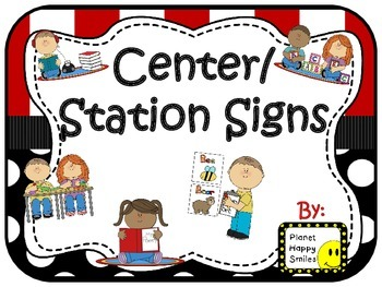 Center Signs ~ Station Signs (Pirate Theme ~ Red and Black)