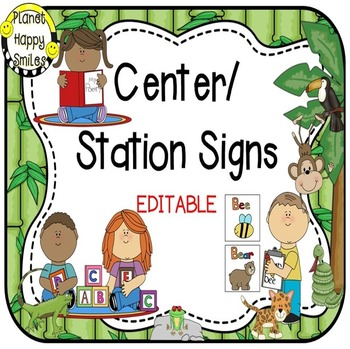 Center Signs ~ Station Signs  EDITABLE (Rainforest/Jungle)