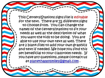 Center Signs ~ Station Signs (Red, White, and Blue ~ EDITABLE)