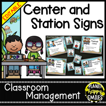 """Center Signs/Station Signs (""""Under the Sea"""", Ocean) ~ EDITABLE"""