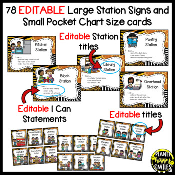 Center Signs ~ Station Signs (Wild About Learning, Jungle/Safari) ~ EDITABLE