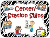 Center Signs ~ Station Signs (Zebra)
