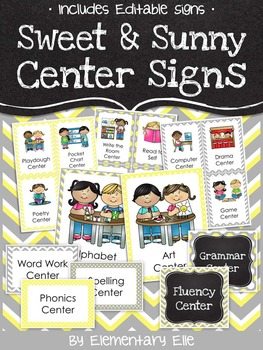 Center Signs - Sweet and Sunny Theme {Yellow and Grey}