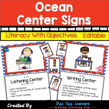 Under the Sea – Ocean Center Signs With Objectives and Editable Management Cards