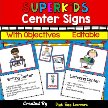 Center Signs With Objectives and Editable Management Cards  Super Hero