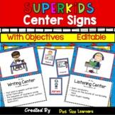 Superhero Themed Center Signs | EDITABLE | Super Hero Center Posters