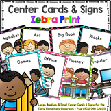 Programmable Center Signs and Cards - (Zebra Print)