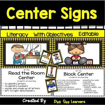 EDITABLE Center Signs | Bee Themed Classroom | Center Posters with Objectives
