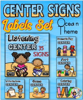 Center Signs and Labels – Editable Ocean Theme