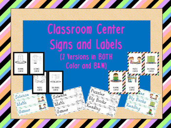 Center Signs and Labels with Pictures