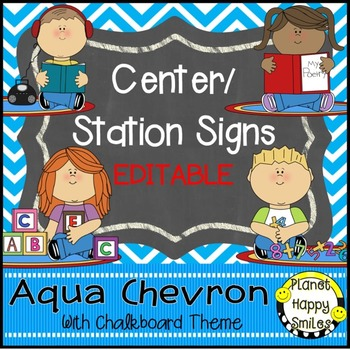 Center Signs and Station Signs (EDITABLE) Aqua and Chalkboard