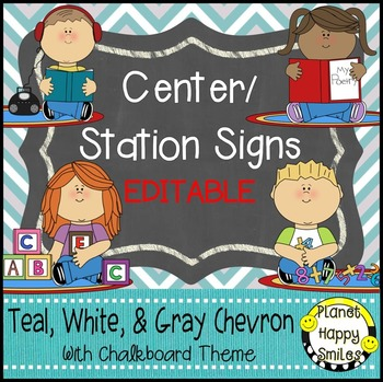 Center Signs and Station Signs (EDITABLE) Teal and Chalkboard