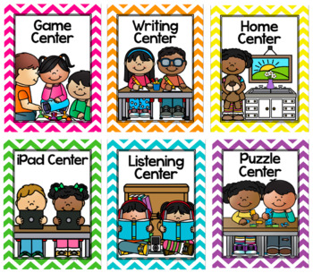 Center Signs in a Chevron Classroom Decor Theme