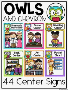 Center Signs {Owls and Chevron Decor Theme}