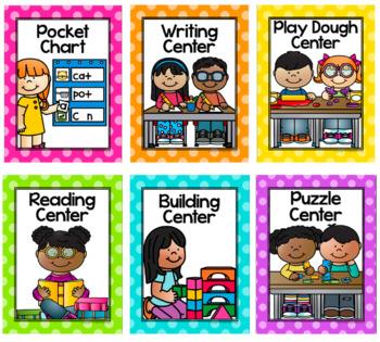Center Signs {Polka Dot Classroom Decor Theme}