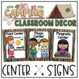 Center Signs and Table Number card in a Camping Classroom Decor Theme