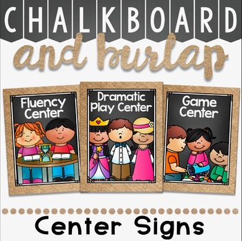 Center Signs and Table Number card in a Chalkboard and Burlap Decor Theme