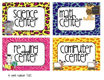 Center Signs and Table Signs - Jungle/ Safari