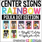 Center Signs for Kindergarten Polka Dots with Editable Student Name Cards