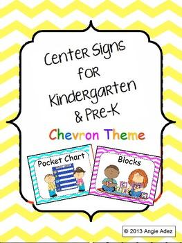 Center Signs for Kindergarten & Pre-K Chevron Theme